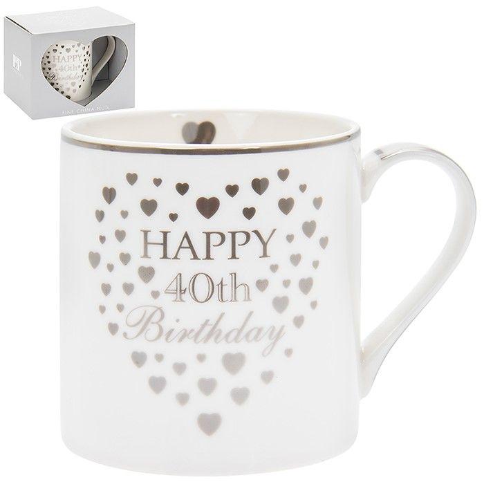 Heart Happy 40th Birthday Mug Silver & White