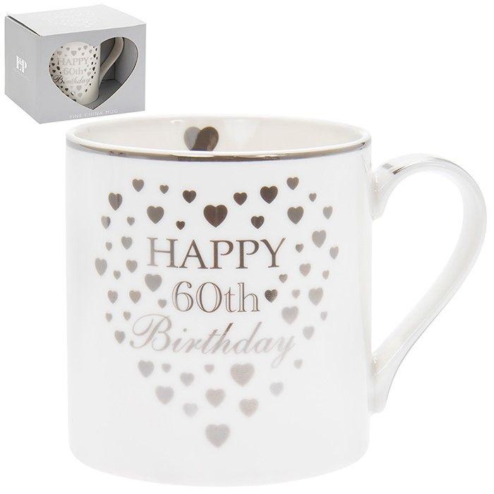 Heart Happy 60th Birthday Mug Silver & White