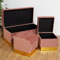 Set of 3 Cushioned Pink Velvet Brass Trimmed Storage Stools