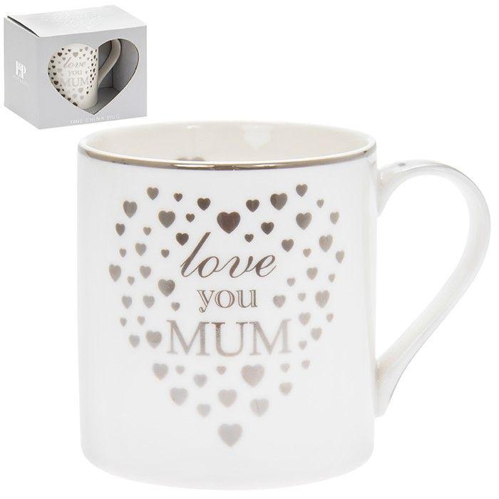 Heart Love you Mum Mug Silver & White