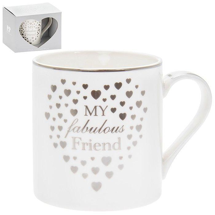 Heart My Fabulous Friend Mug Silver & White