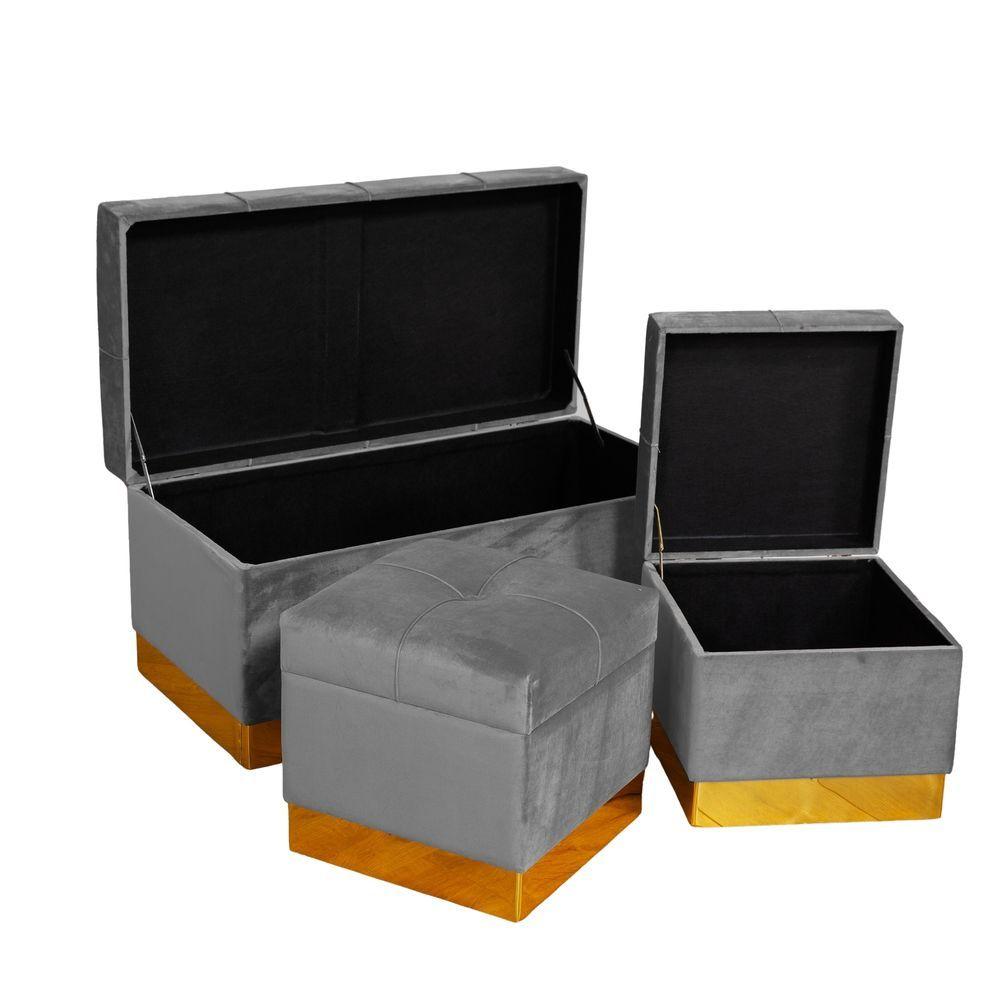 Set of 3 Cushioned Grey Velvet Brass Trimmed Storage Stools