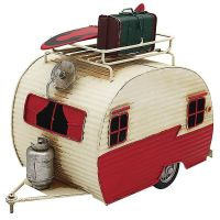 Large Metal Red Caravan Model