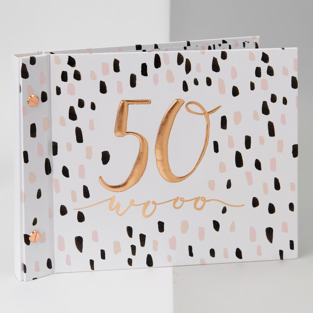 Luxe Rose Gold 50th Birthday Guest Book and Photo Album