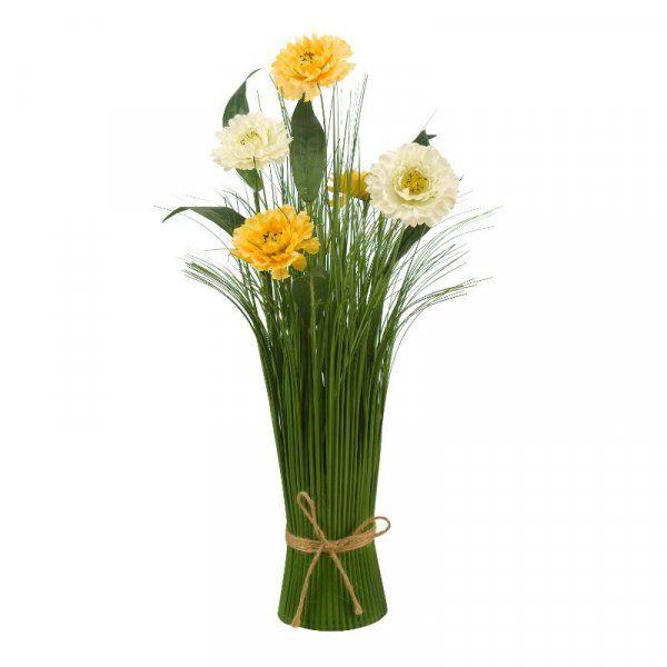 40cm Mellow Yellow Wild Flower Grass Faux Bouquet