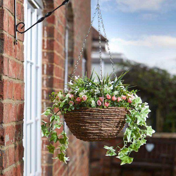 Easy Faux Floral Hanging Basket - Blush