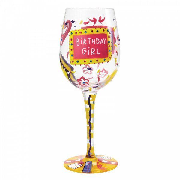 Lolita Gift Boxed Birthday Girl Wine Glass Gift Hand Painted