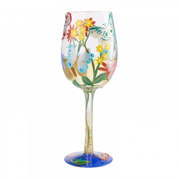 Lolita Gift Boxed Bejeweled Butterfly Wine Glass Gift Hand Painted