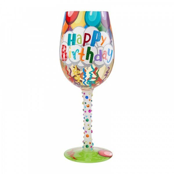 Lolita Gift Boxed Birthday Streamers Wine Glass Gift Hand Painted