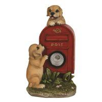 Solar Powered Light.  Puppies & Post Box Garden Ornament 26cm