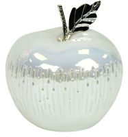 LED Lit High Gloss White & Silver Ceramic Apple Fruit Ornament 16cm