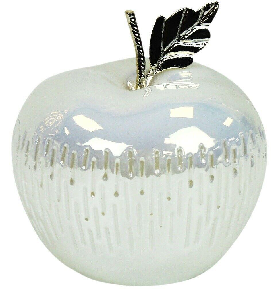 LED Lit High Gloss White & Silver Ceramic Apple Fruit Ornament 13cm