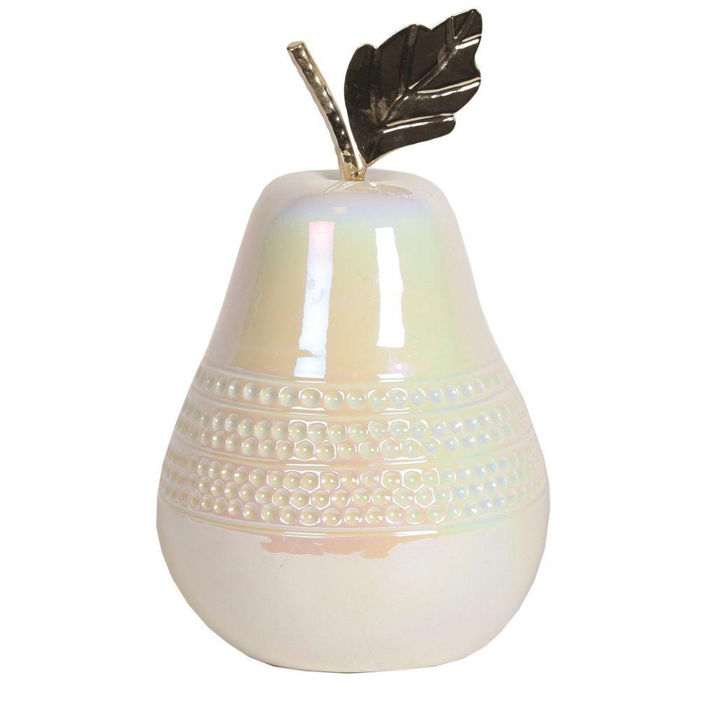 LED Lit Lustre High Gloss White & Silver Ceramic Pear Fruit Ornament 23.5cm