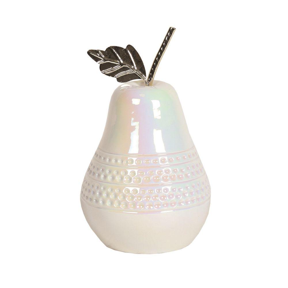 LED Lit Lustre High Gloss White & Silver Ceramic Pear Fruit Ornament 19cm