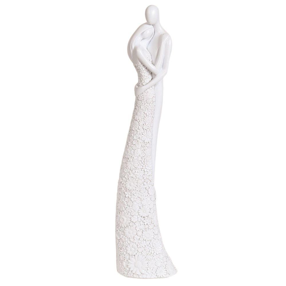 Large White Embracing Ceramic Couple Figurine Ornament