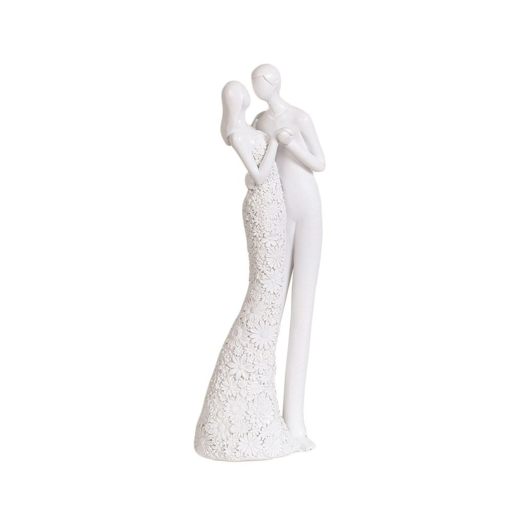 White Kissing Ceramic Couple Figurine Ornament