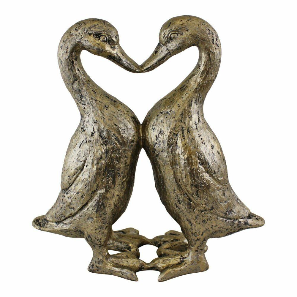 Gold Kissing Heart Ducks Figurine Ornament