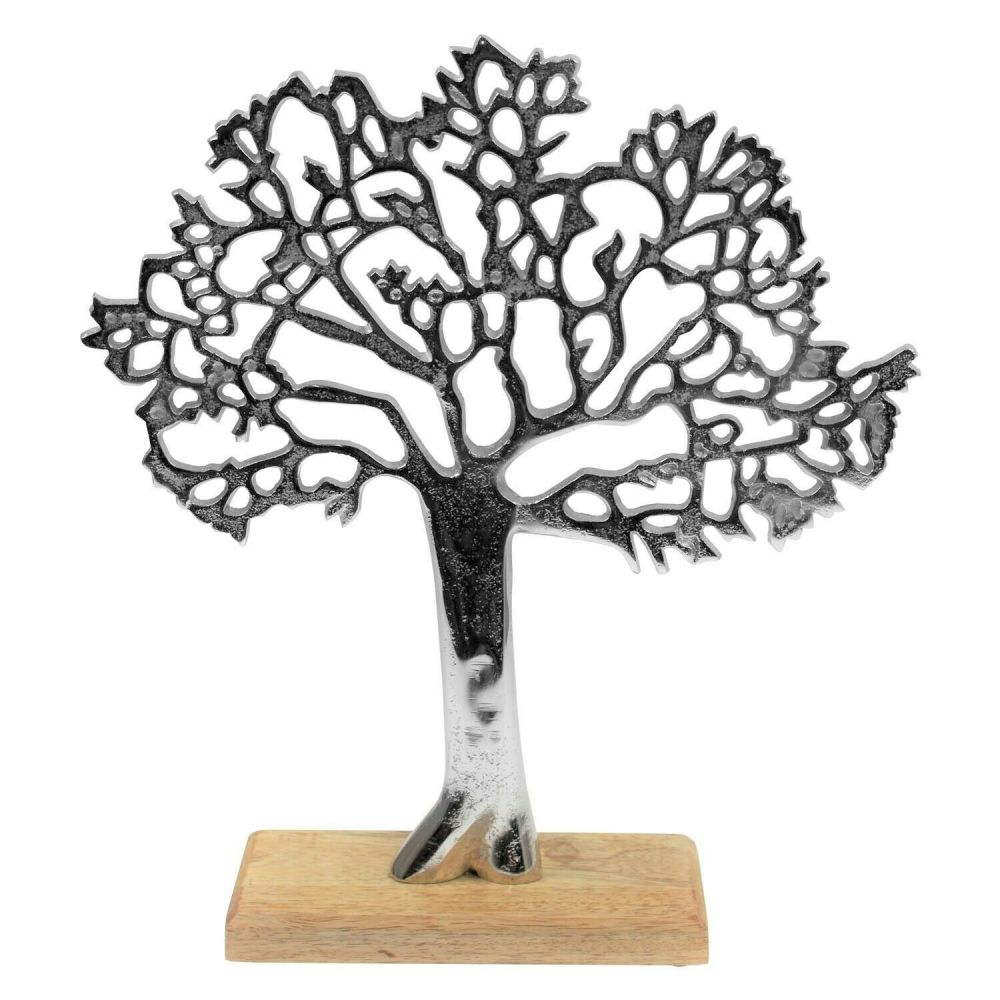 Aluminum Tree Of Life On Mango Wood Base Ornament Home Décor
