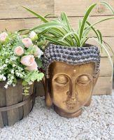 31cm Bronze Buddha Head Planter Decorative Zen Garden Pot Plant Garden Ornament