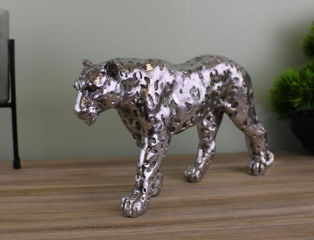 Silver Glitter Leopard Ornament 17cm