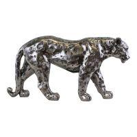 Large Silver Glitter Leopard Ornament 41.5cm