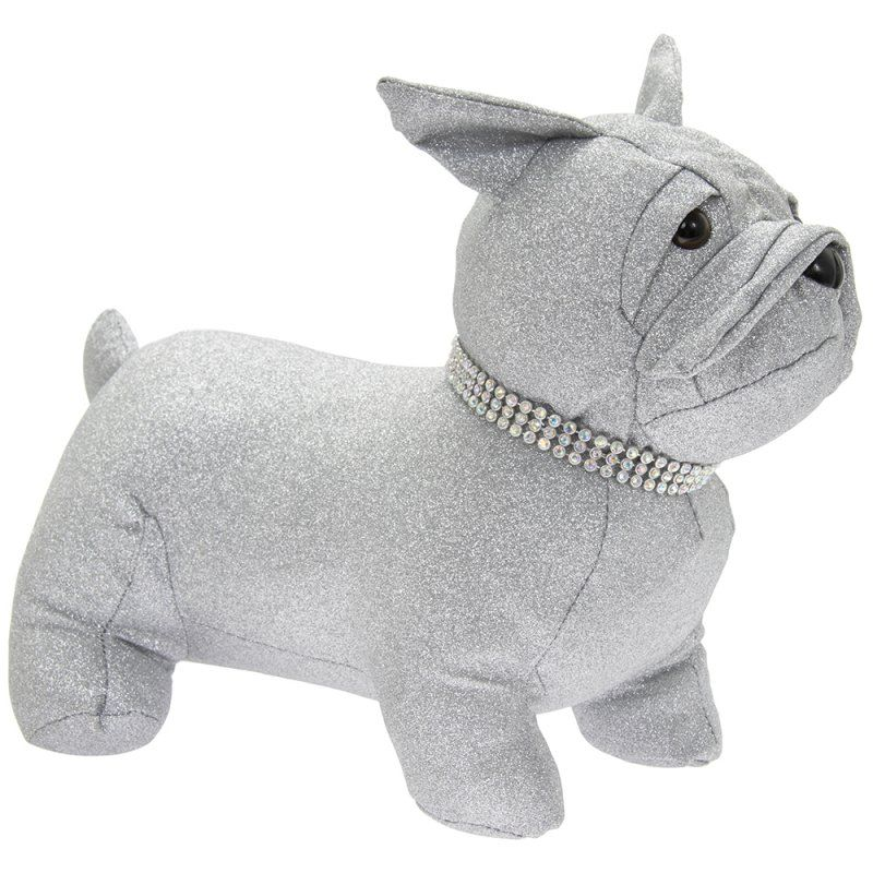 Sparkly Silver Bling Sitting Frenchie Dog Doorstop
