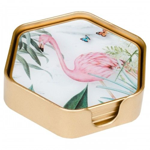 Set of 4 Hexagonal Flamingo Coasters With Holder