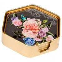 Set of 4 Hexagonal Flower Coasters With Holder