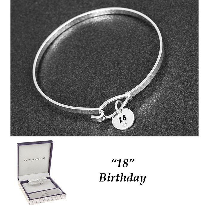 Equilibrium Silver Plated Bangle 18th Birthday