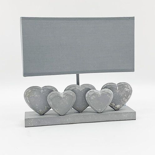 Grey Washed Wood 5 Heart Lamp With Grey Linen Shade 36cm