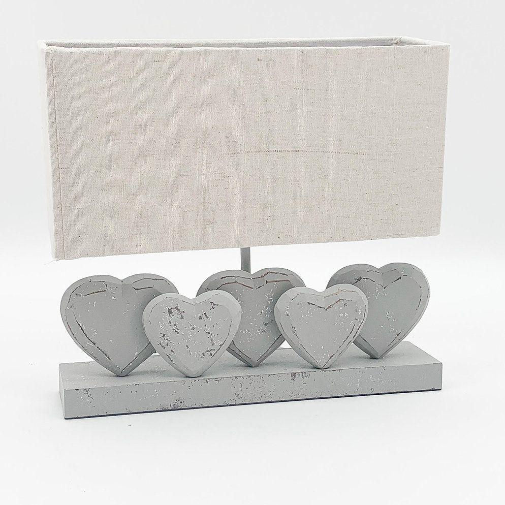 Grey Washed Wood 5 Heart Lamp With Linen Shade 36cm