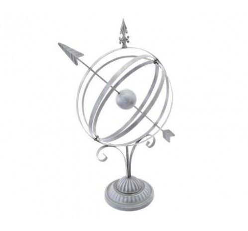 Grey Metal Sundial Sphere Globe Ornament