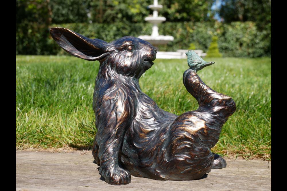 Bronze Effect Rabbit And Bird Figurine Ornament