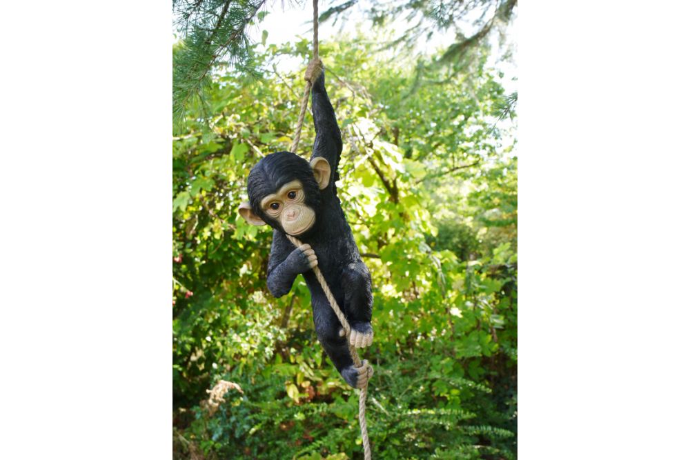 Quirky Climbing Monkey Hanging On Rope Garden Tree Ornament Statue Decorati