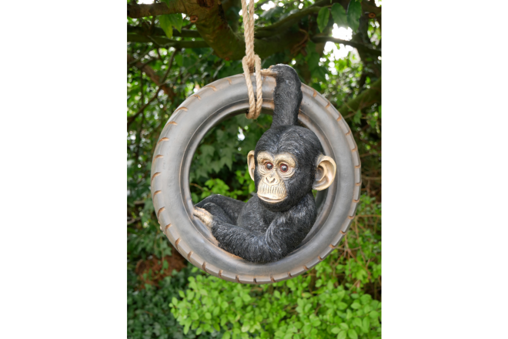 Quirky Hanging Chimp Swinging On Tyre Garden Tree Ornament Statue Decoratio
