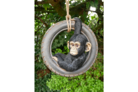 Quirky Hanging Chimp Swinging On Tyre Garden Tree Ornament Statue Decoration