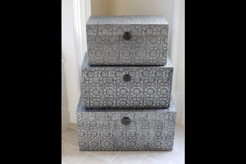 Set of 3 Embossed Metal Storage Trunks