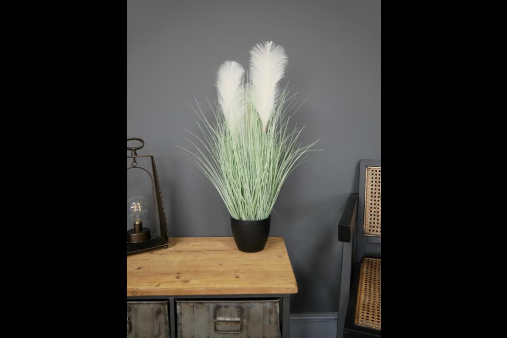 72cm Artificial White Pampas Grass Potted Plant Décor