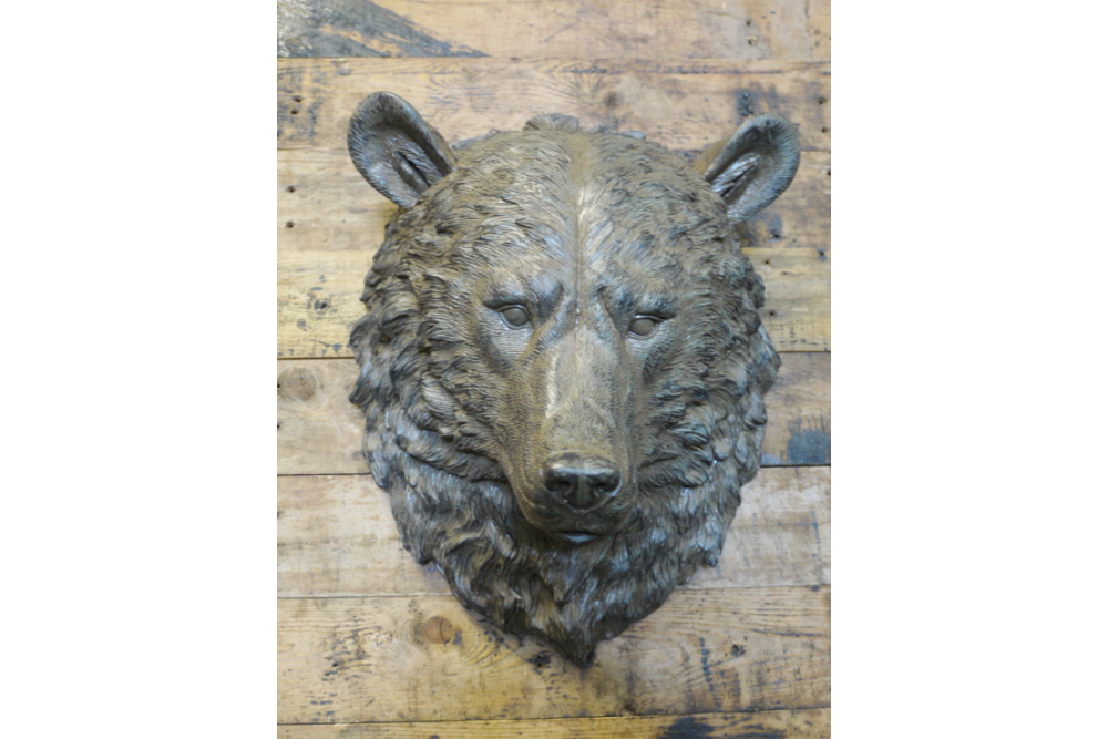 Large Aged Effect Brown Bear Head Bust Wall Art Hanging Décor