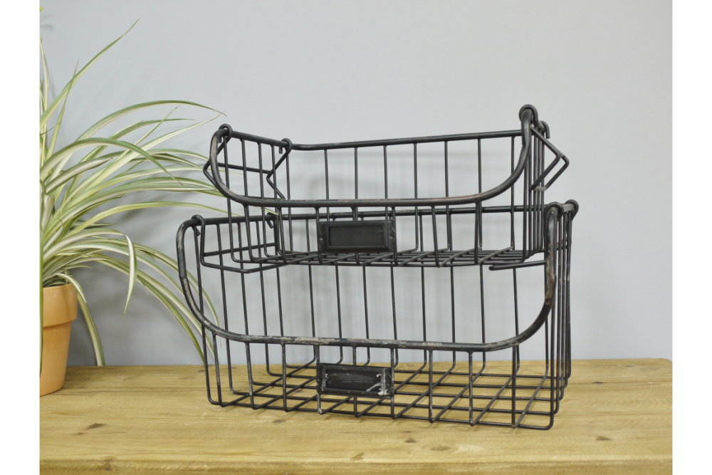 Set Of 2 Strong Industrial Style Metal Baskets Iron Wire Storage Cages