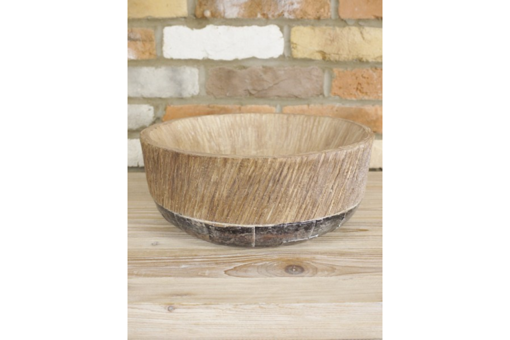 Large Wood Effect Bowl With Metal Base Indoor or Outdoors