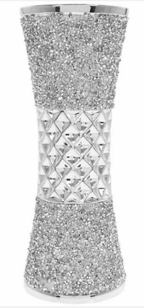 Stunning Ceramic Silver Sparkle 25cm Vase Bling Crushed Diamante