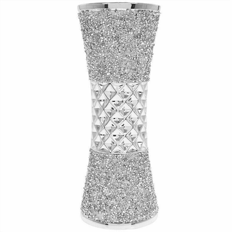 Stunning Ceramic Silver Sparkle 20cm Vase Bling Crushed Diamante