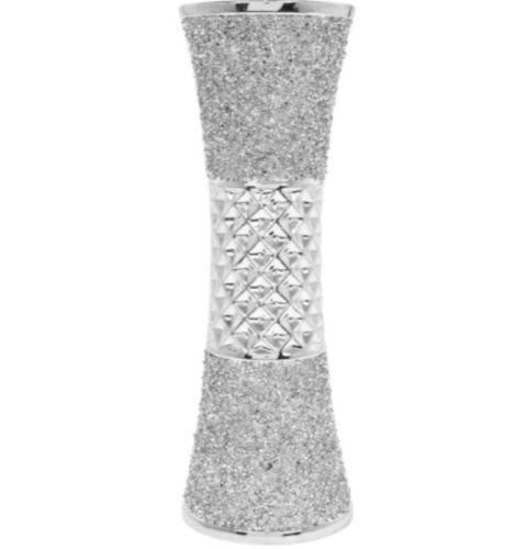 Stunning Large Ceramic Silver Sparkle 34cm Vase Bling Crushed Diamante