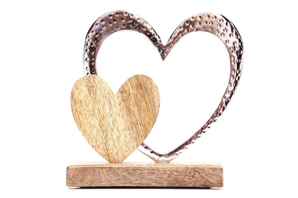 Large Double Heart Aluminium & Wood on Mango Wood Base