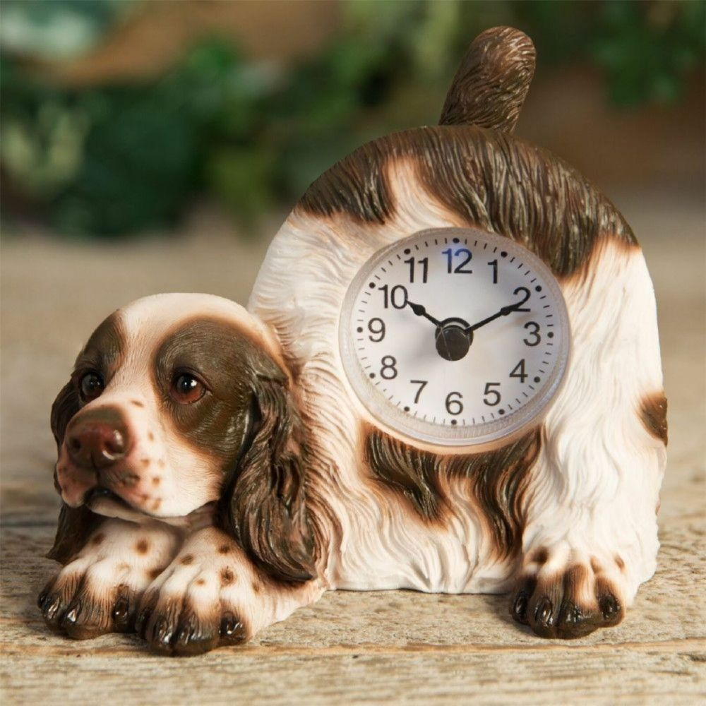 Springer Spaniel Dog Mantel Clock With Wagging Tail