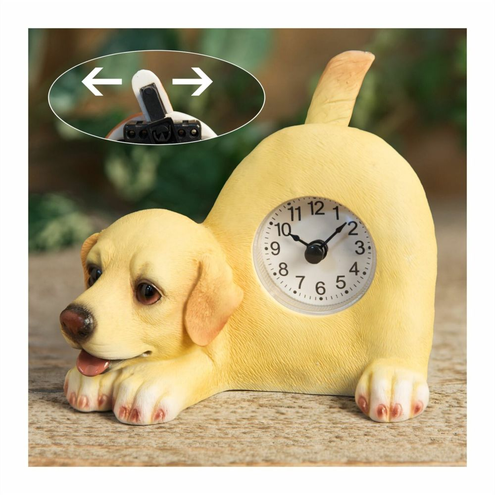 Yellow Labrador Dog Mantel Clock With Wagging Tail