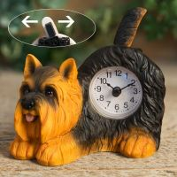 Yorkshire Terrier Dog Mantel Clock With Wagging Tail