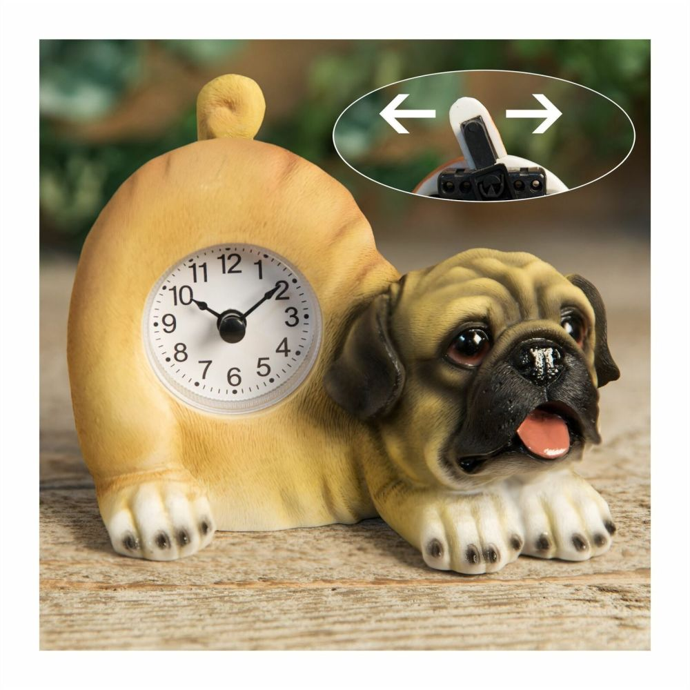 Pug Dog Mantel Clock With Wagging Tail