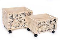 Set of 2 Wheeled Toy Storage Crates